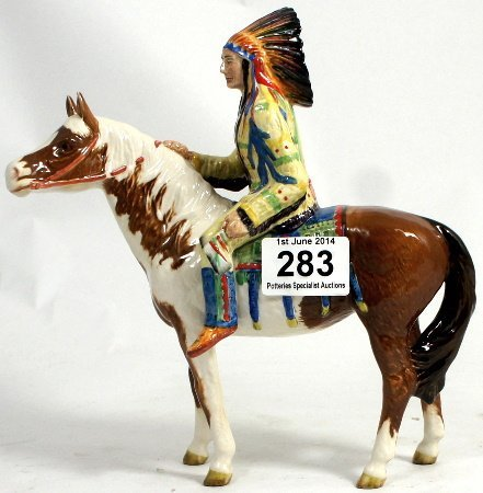 Beswick Indian on skewbald horse 1391