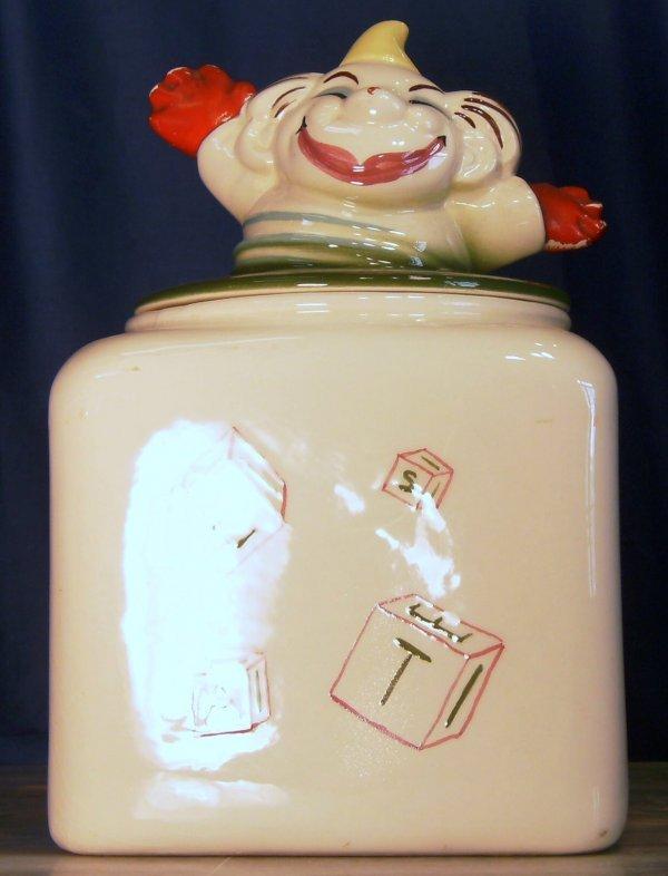 8: CLOWN JACK IN THE BOX COOKIE JAR, MADE BY SIERRA VIS