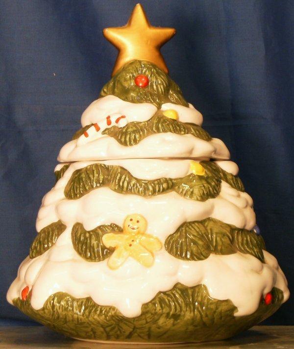 12: CHRISTMAS TREE COOKIE JAR, TAIWAN MARKED LI CHUN CO