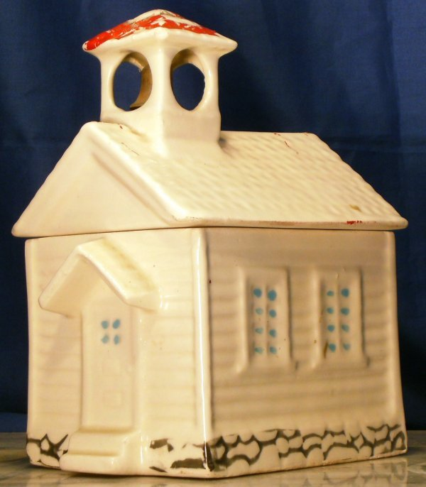 21: SCHOOL HOUSE WITH BELL COOKIE JAR, COLD PAINT, ORIG