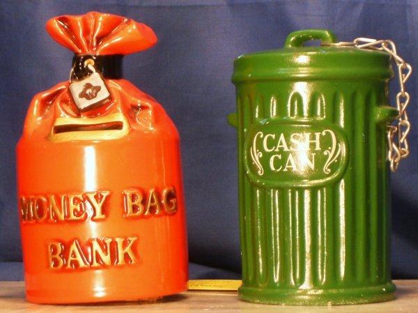 22: 2 BANKS, MONEY BAG & CASH CAN BANKS  Manufacturer
