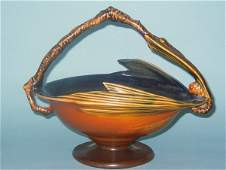 179A: ROSEVILLE BROWN PINE CONE BASKET WITH FROG, NO. 3