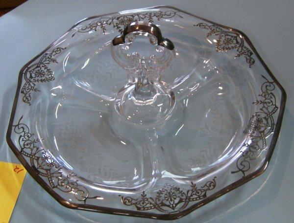 2012: Cambridge Crystal Relish Tray w/Keyhole Handle