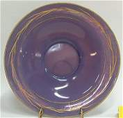 2261 Helio Lrg Bowl wGold Decorated Cattail Cambridge