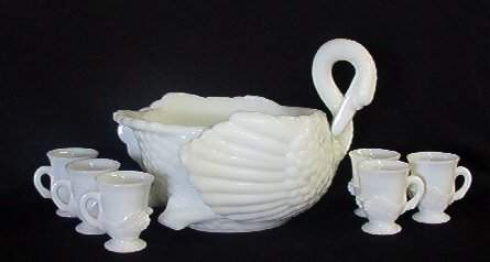 2300: Rare Milk Glass Swan Punch Bowl 6  Cups Cambridge