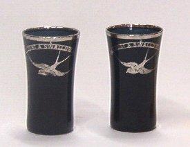 2441: 2 Black Shott Glasses Rockwell Cambridge Bird