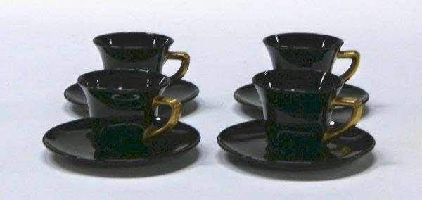 2720: Cambridge 4 Black Cups & Saucers Gold Handles