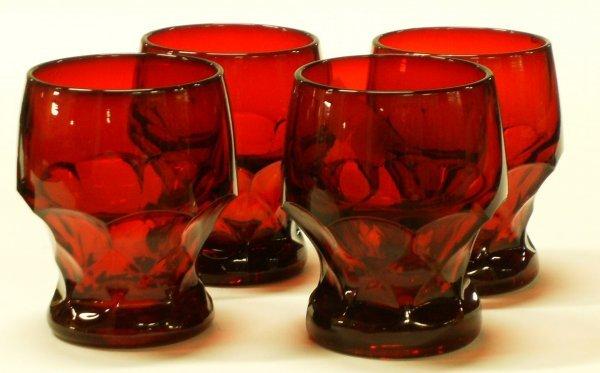 2721: 4 Georgian Red Water Glasses Cambridge