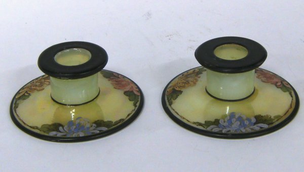 2868: Cambridge Rare Ivory Candlesticks. Painted Floral