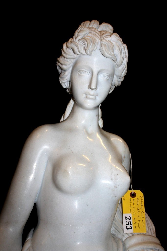 253: CARVED CARRERA MARBLE STATUE