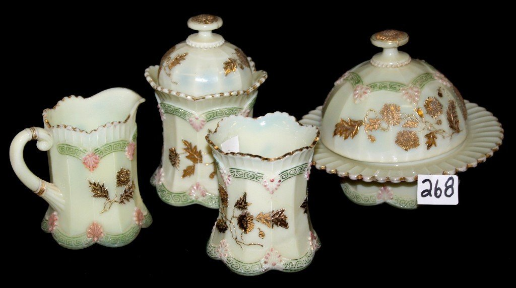 268: Northwood CHRYSANTHEMUM CUSTARD GLASS SET