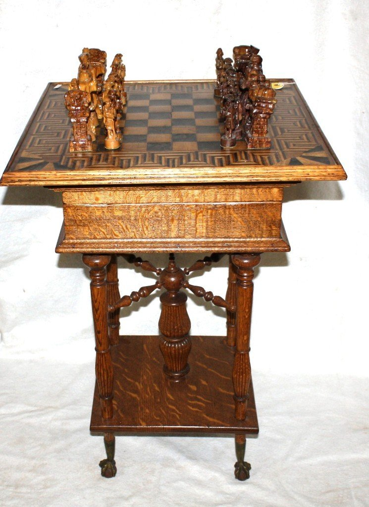 286: OAK INLAID CHEST TABLE