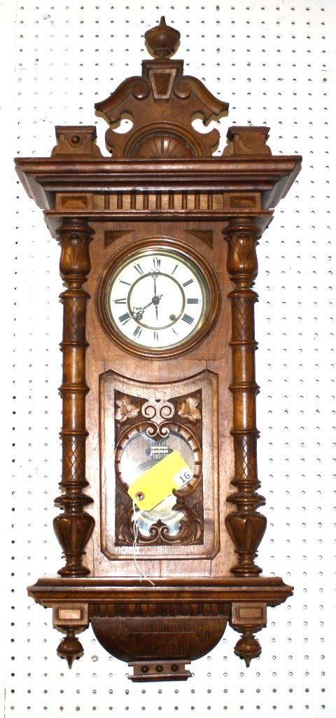 16: VICTORIAN HANGING WALL CLOCK