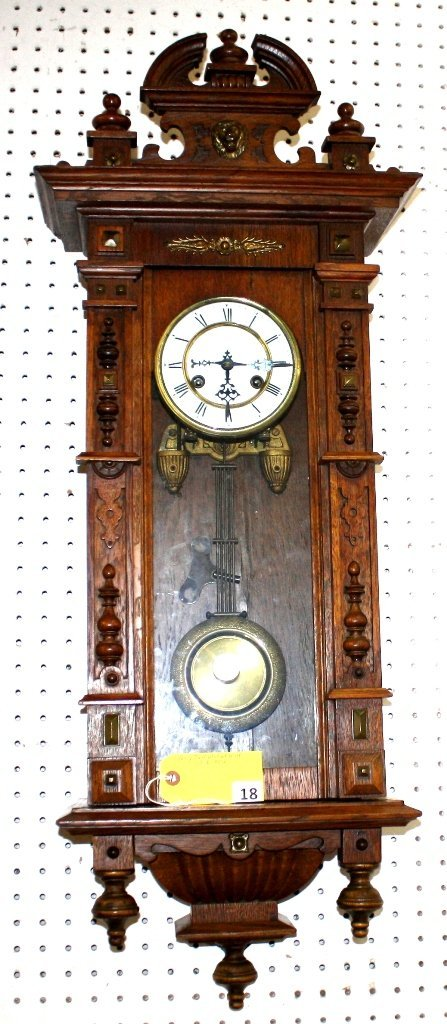 18: VICTORIAN HANGING WALL CLOCK