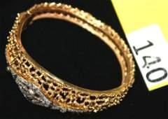 140 DIAMOND  GOLD BANGLE BRACELET