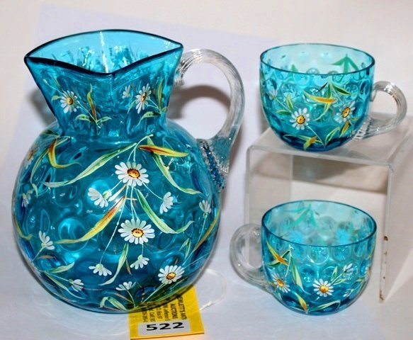 ART GLASS PITCHER & 2 CUPS