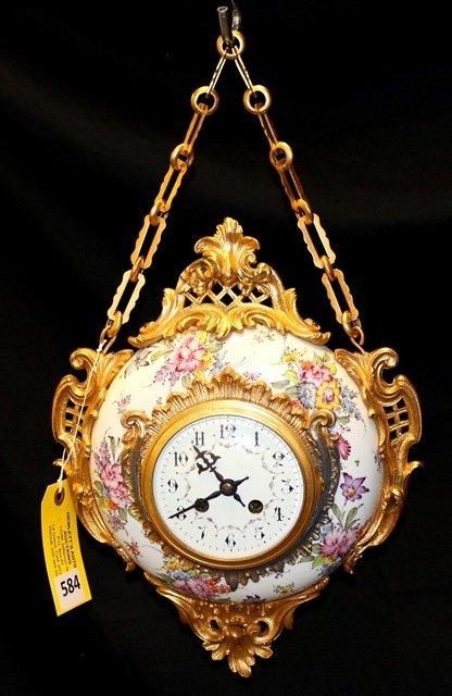 FRENCH PORCELAIN HANGING CLOCK