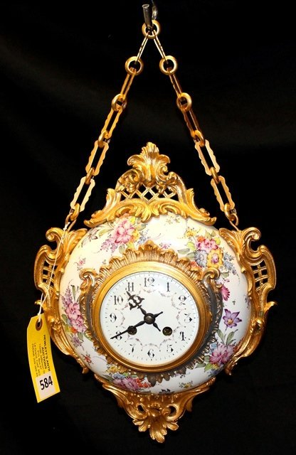 FRENCH PORCELAIN HANGING CLOCK