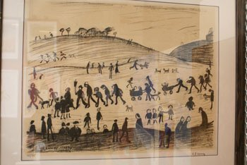 1003: A Limited Edition Lowry print of figures and dogs