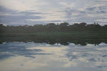 1005: A large unframed oil on canvas by Sophie Eynon en