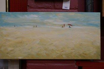 1008: An unframed oil on canvas by Josef Pla  beach sce