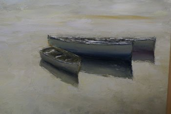 1009: An oil on canvas by Josef Pla of three rowing boa