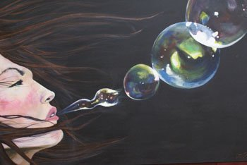 """1021: An oil on canvas by Matthew Tooth titled """"Bubble"""""""