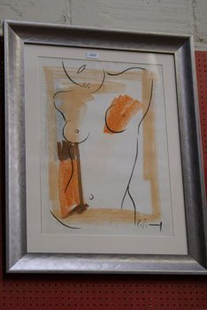 1023: A Marzia Colonna pastel nude study framed and gla