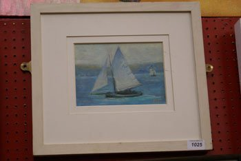 1025: A small oil on board by Robert Jones of sailing v