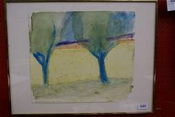 """1055: A watercolour study by Norman Adams titled """"Sunfl"""