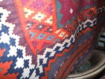 12B: An old Anatolian Kelim hand knotted carpet the red