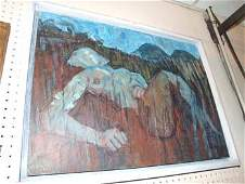 37B: An Impressionist oil on board reclining nude femal