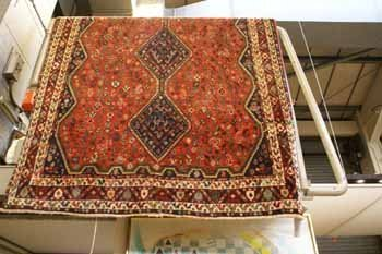 9C: Fin Afshar rug North West Persia with triple chain