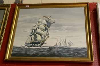 10C: An oil on canvas laid on board  sailing vessel afl
