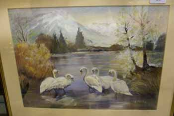 20C: A watercolour and pastel of swans beside a lake  E