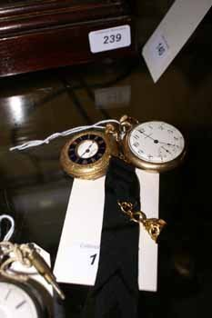 150C: An 18ct. gold pocket watch and a similar rose gol