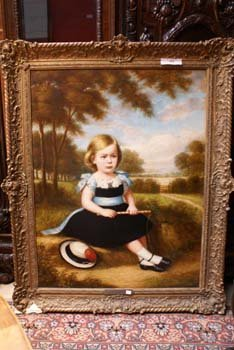 1002E: A large oil on canvas portrait of a young girl i