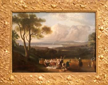 1008E: A C19th oil on canvas landscape study with figur