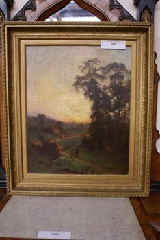 1022E: A C19th oil on canvas country landscape figures