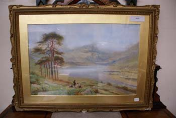 1023E: A C19th watercolour hilly riverscene with huntsm