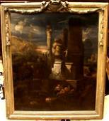 1026E: An C18th oil on canvas Follower of Giovanni Paol