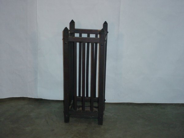 1: Mission spindle umbrella stand/stickley era
