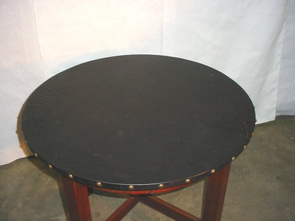 3: Small leather top lamp table