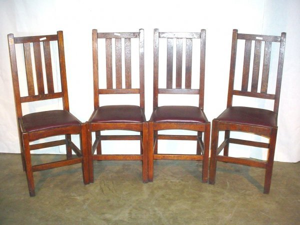 18: 4 mission slatted back dining chairs