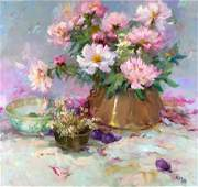 Peonies and Plums by Claire Ruby (1925-2005)