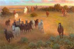 Cowboy's Drumbeat by Wayne Baize (1943- )