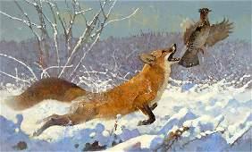 Red Fox Airborne by Bob Kuhn (1920-2007)