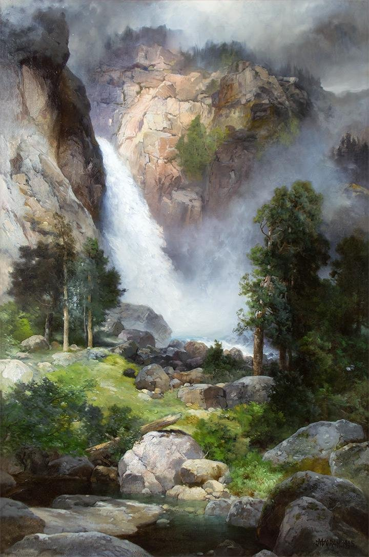 Cascade Falls, Yosemite by Thomas Moran (1837-1926)