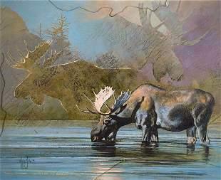 Yellowstone Mist - Bull Moose by Kobus Moller (1949- )