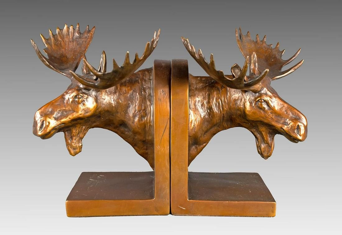 Moose Bookends by Robert Refvem (1933- )
